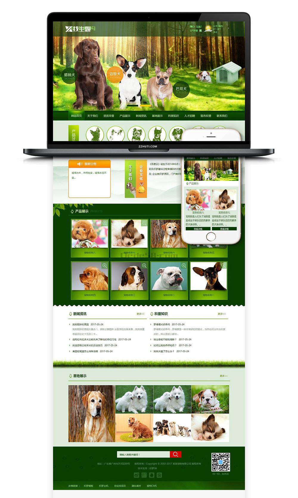 【宠物狗机构类】织梦绿色网站织梦模板带手机端PC+移动端+利于SEO优化-酷网站源码